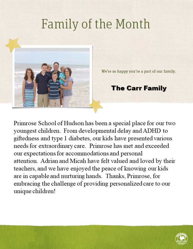 Carr Family of the Month for April 2018