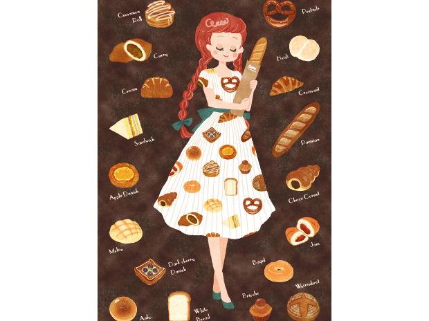 パン柄ワンピースの乙女