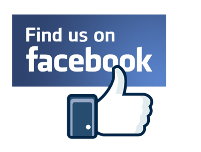 """Find us on Facebook"" graphic with the Facebook like button"