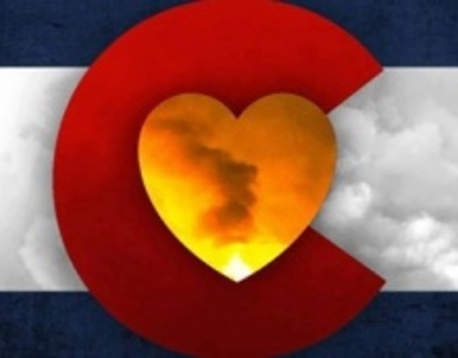 Colorado state flag with a heart in the middle representing solidarity