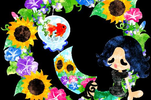 夏の思い出と夏の花のリースと風鈴