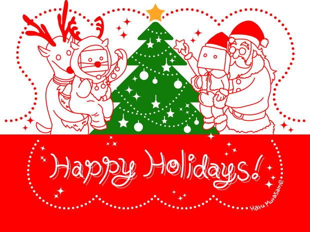 みんなでつくるクリスマス(立たせることも出来るクリスマスカード)