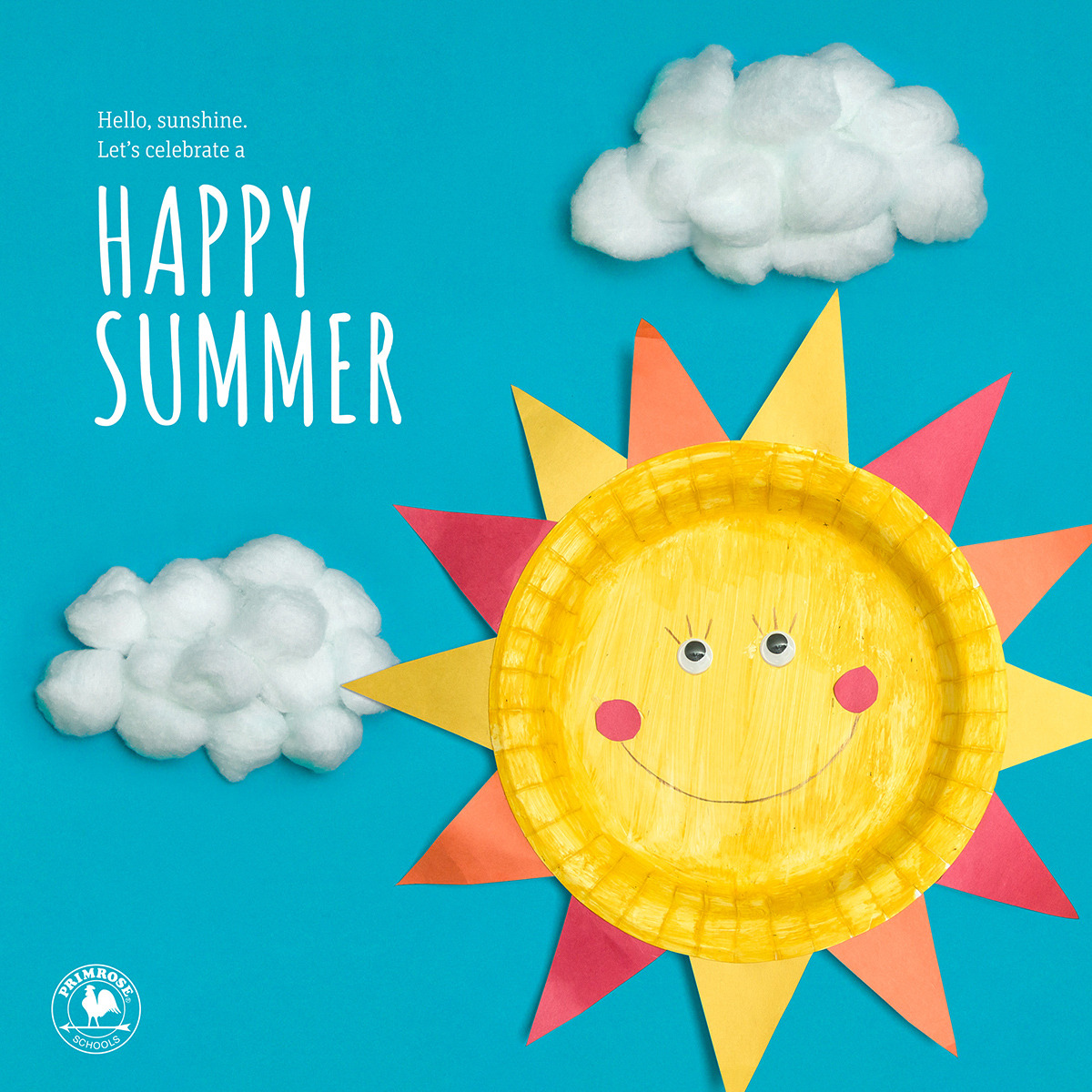 """A smiling sun made out of a paper plate floats in a blue sky with cotton ball clouds and the words """"Happy Summer"""" next to it."""