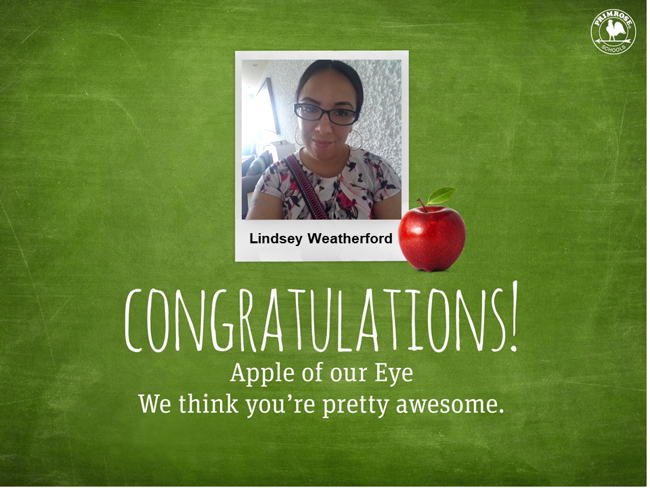 Image of our Apple of the Eye Ms. Lindsey Weatherford