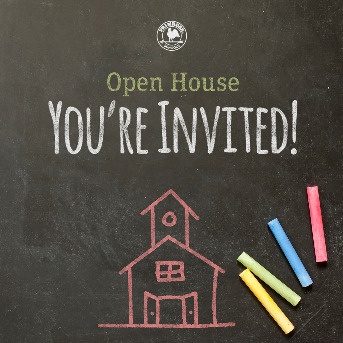 "Open house chalk board with ""your invited"""