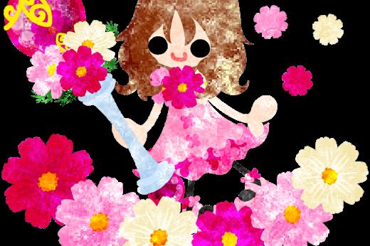 可愛い女の子とコスモスの魔法の杖と花畑