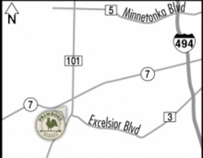Map pointing to the location of Primrose school of Minnetonka