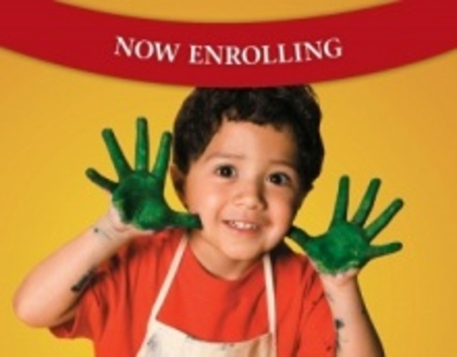 Now enrolling poster featuring a young boy with paint all over his hands