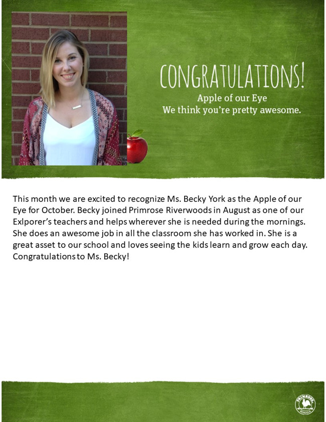 Ms. Becky York as the Apple of our Eye for October.