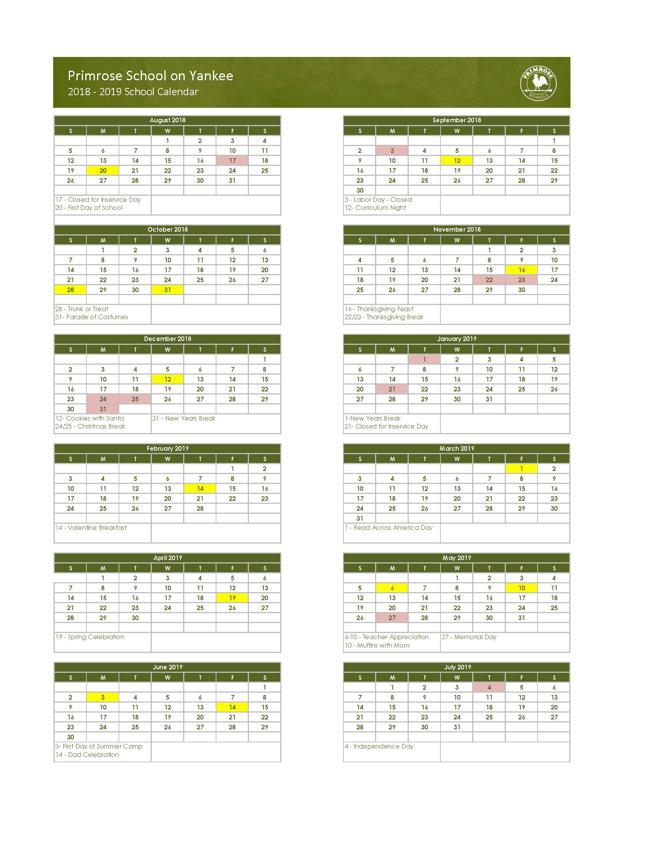 Primrose school of Yankee's yearly calendar