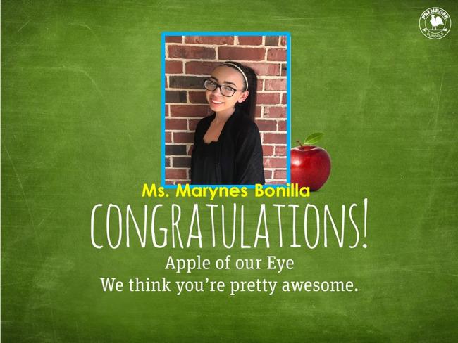 Ms. Bonilla, April of our Eye!