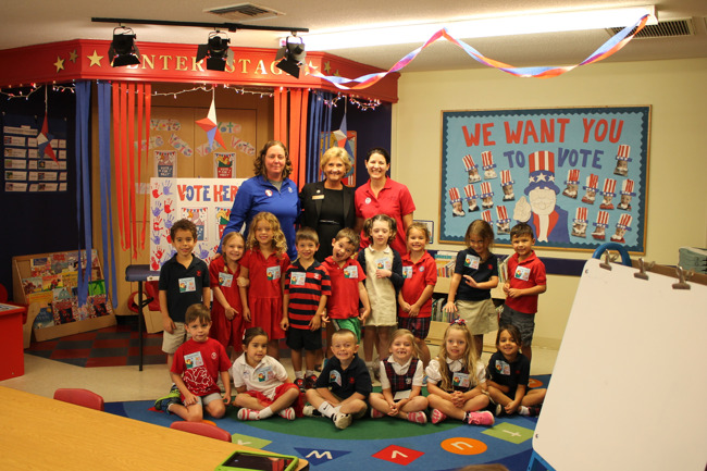 Private Kindergarten students pose for a group picture after  participating in the Election Day activity