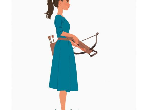Girl holding crossbow