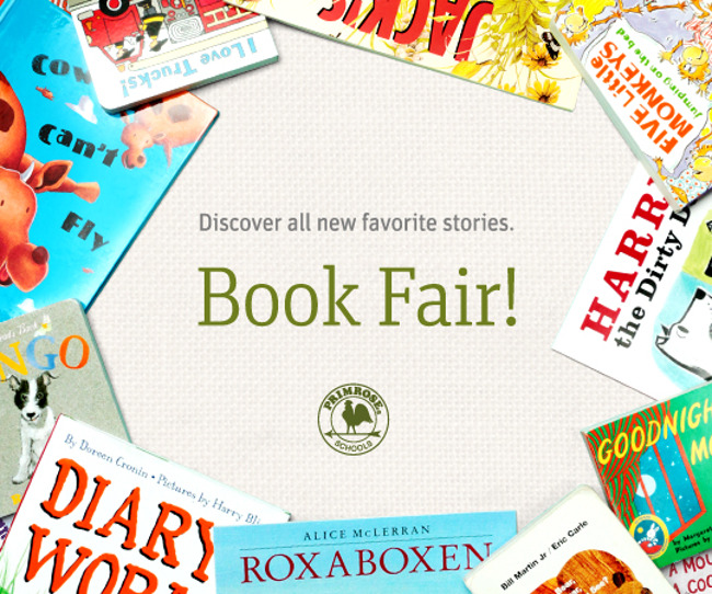 A poster for scholastic book fair depicting several children's books