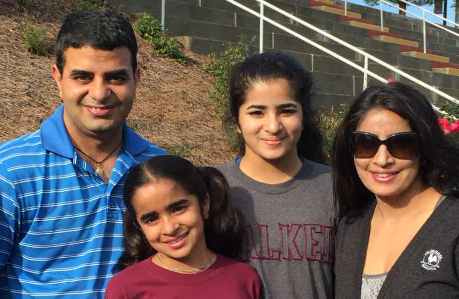 Franchise Owners of Primrose School Raneet and Amit Khurana with their family