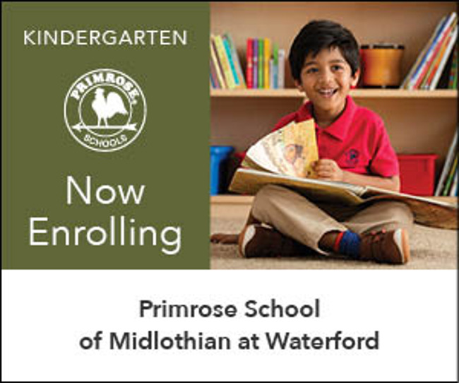 Now Enrolling Private Kindergarten with boy in Primrose uniform reading