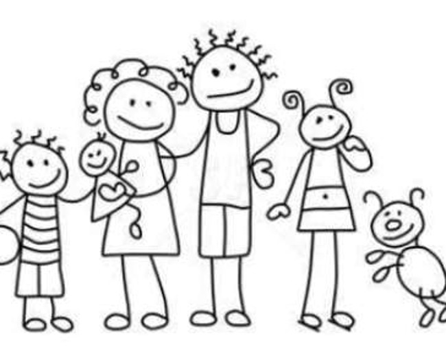 Family of the month doodle style illustration poster