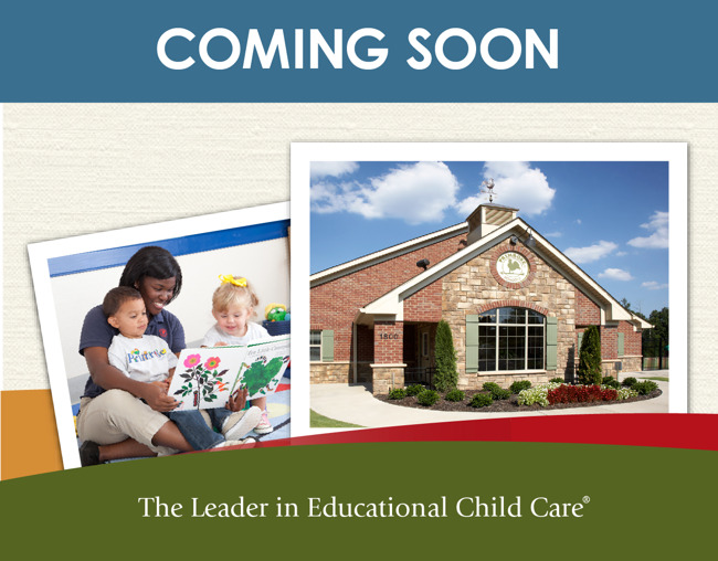Coming soon poster featuring the exterior of a Primrose school and a teacher reading to a toddler sitting on her lap