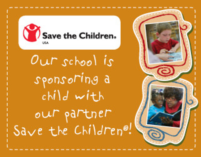 Poster describing the partnership between Save the children foundation and Primrose school of Conroe