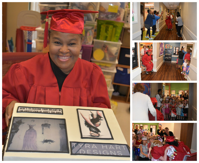 Mrs. Hart celebrates her graduation in a cap and gown