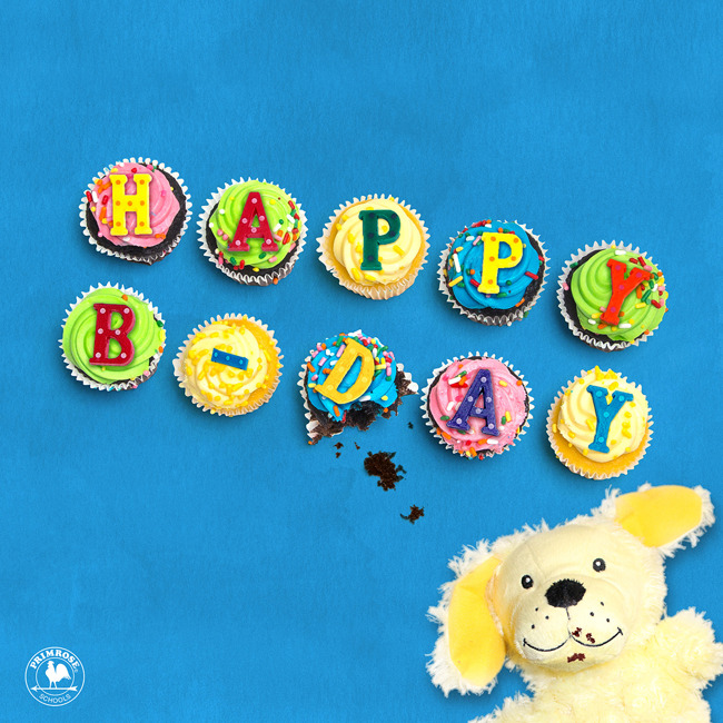 """Cupcakes topped with letters that spell the words """"HAPPY BIRTHDAY"""" with Erwin the dog hand puppet lying next to them"""