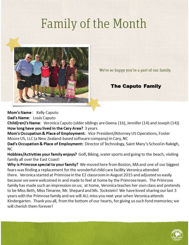 March 2018 Family of the Month