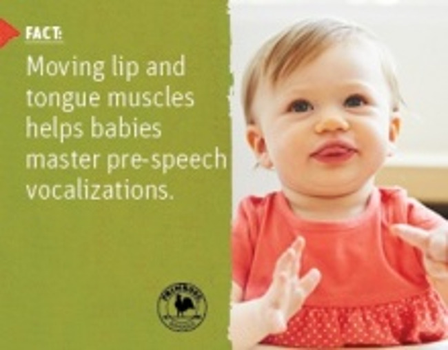 Scientific fact about speech development in toddlers next to an image of a young toddler girl blowing raspberries