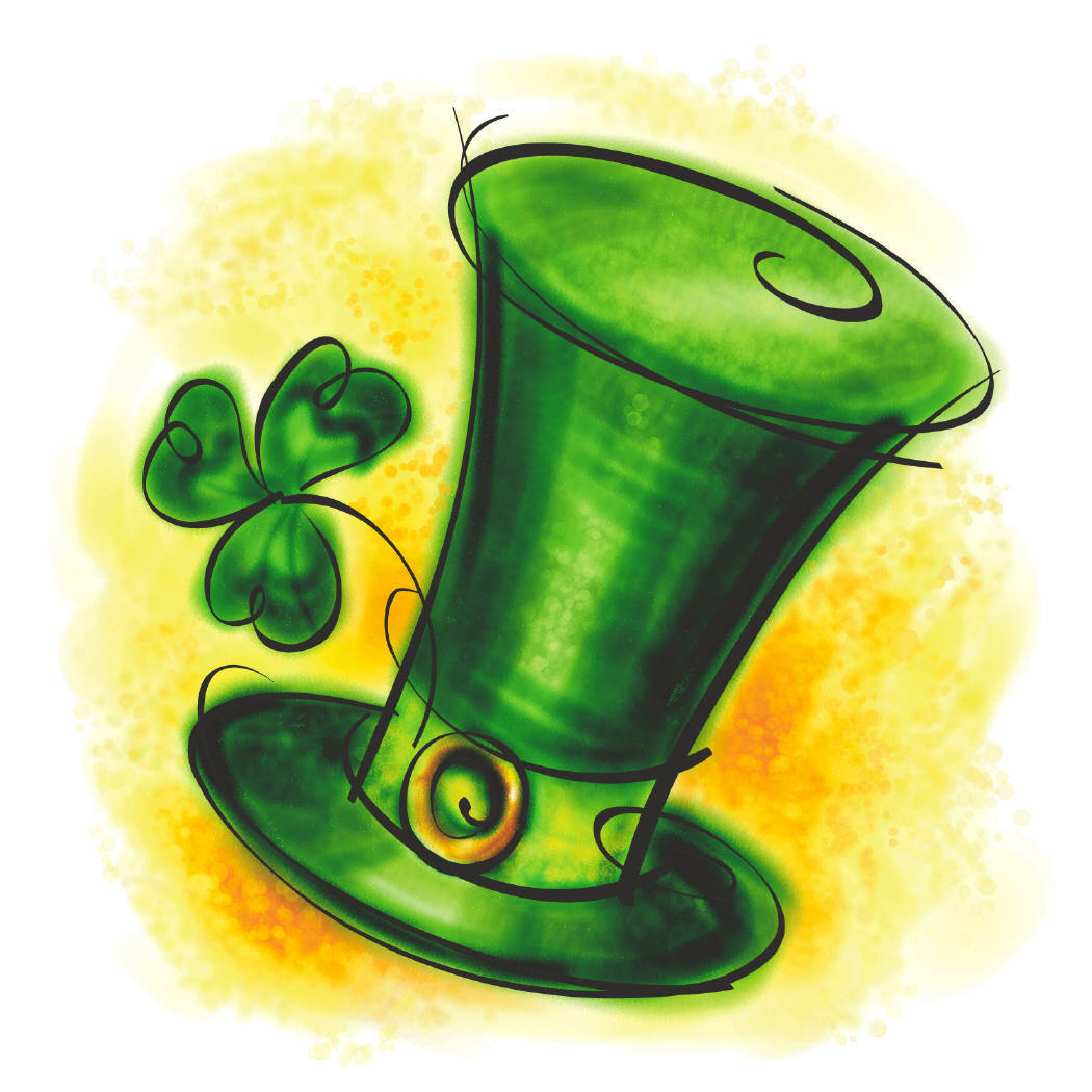 Green top hat with a four leaf clover in the brim