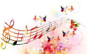 Brightly colored musical notes float on a music staff with flowers and butterflies in the background