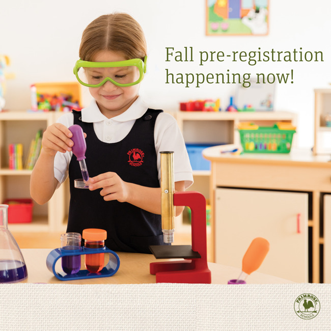 Now enrolling poster with a young Primrose student wearing safety goggles and using a dropper to put a solution in a dish