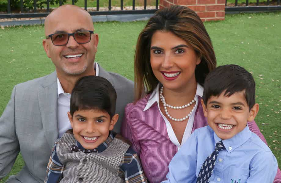 Franchise Owners of Primrose School Farima and Reza Nemat with their family