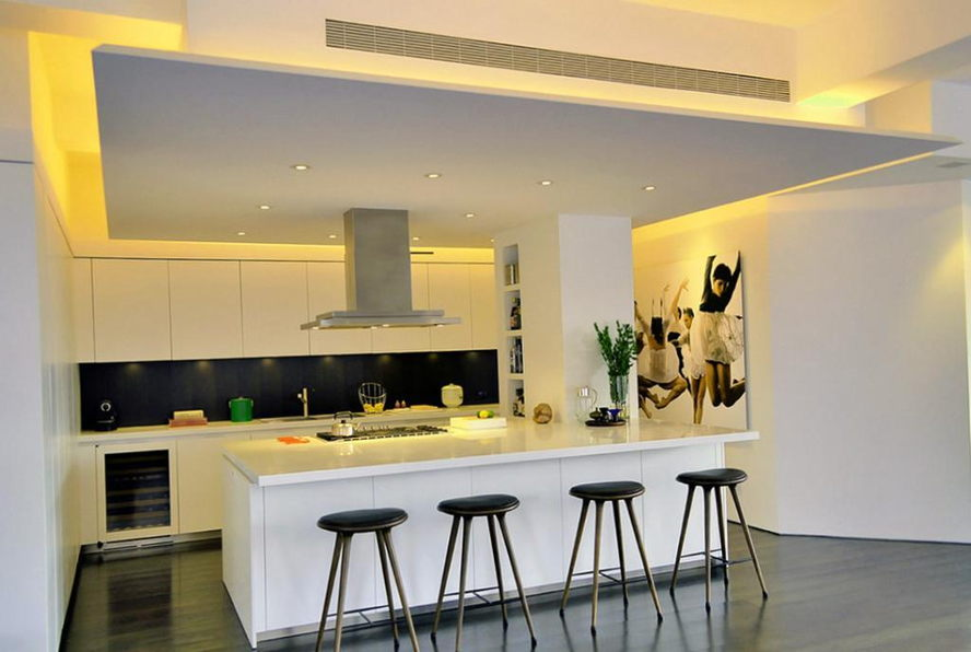 香港 - fascinating-bright-led-lighting-design-in-ceiling-kitchen-with-bar-stools-idea-and-dark-wooden-floor-as-well-white-paint-cabinet-kitchen-and-shelves-on-the-wall.jpg