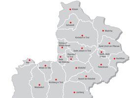 Die wichtigesten Ortschaften im Bezirk Kitzbühel
