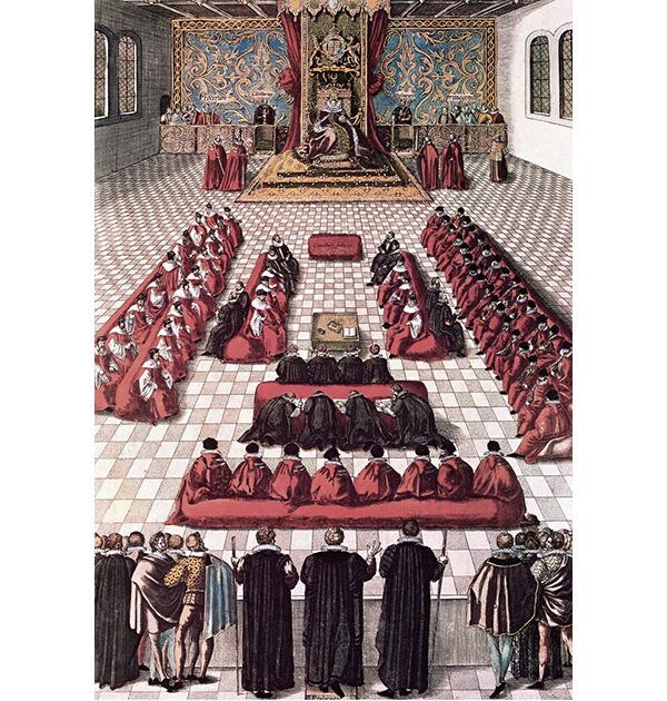 Королева Елизавета и ее парламент. Гравюра. 1608 / The Granger Collection