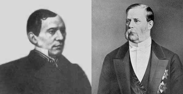 Слева направо: А.В. Головнин и А.А. Абаза