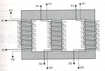 three phase transformer windings