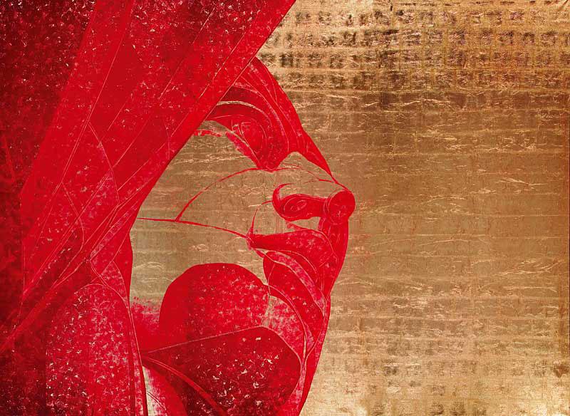 «Родина-дочь». Алексей Беляев-Гинтовт, 2007 г. Сусальное золото, черная типографская краска, холст, ручная печать. Галерея «Триумф»