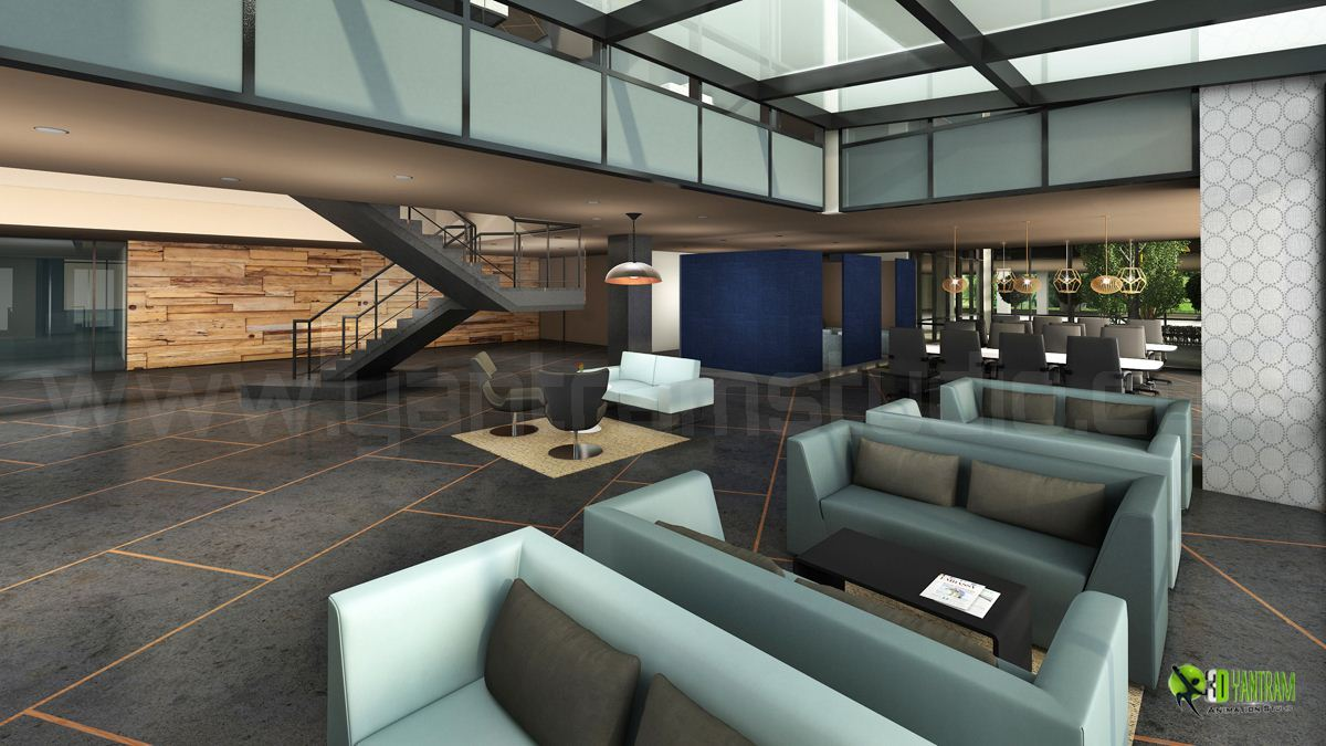 corporate office lobby. Corporate Office Lobby Interior Design Rendering | Yantramstudio AWRD アワード