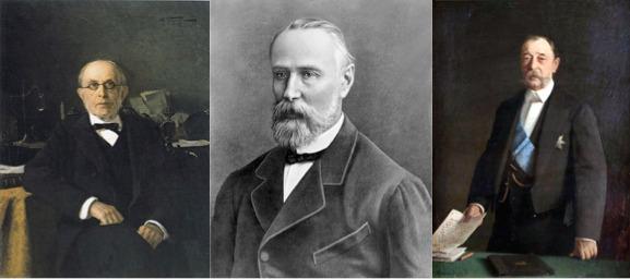 Слева направо: К.П. Победоносцев, М.Н. Катков, Д.А. Толстой
