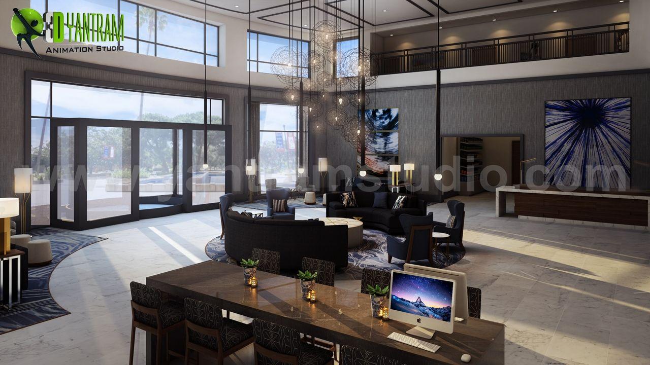 3D Hotel Lobby Interior Design By Yantram Architectural Design Studio Los  Angeles, USA | Yantramstudio | AWRD アワード