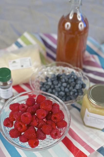 ingredienser til gelegodteri med bær og kombucha